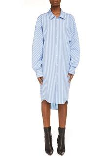 Balenciaga Stripe Long Sleeve Cotton Cocoon Shirtdress