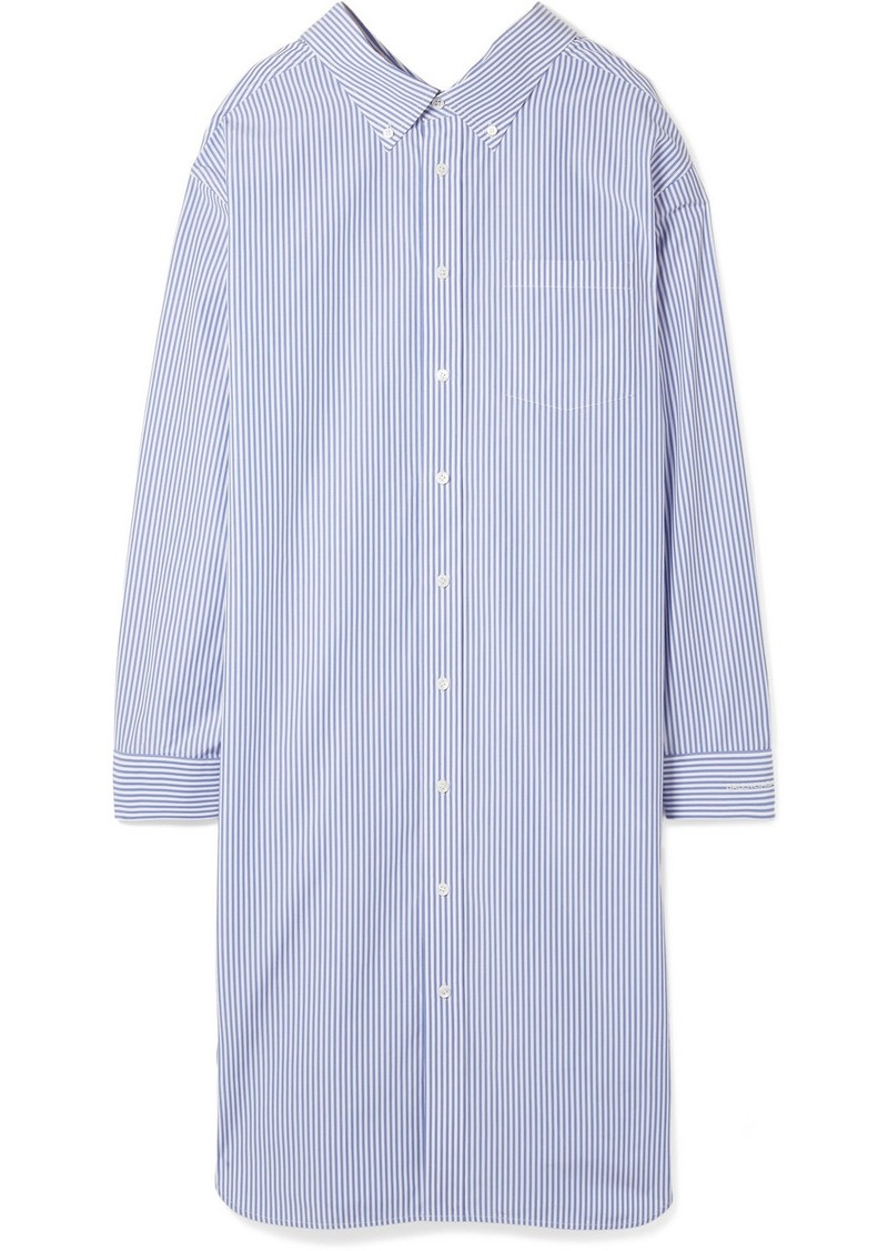 Balenciaga Striped Cotton Poplin Shirt Dress Dresses