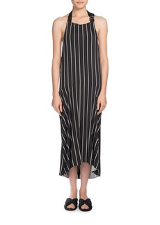 Balenciaga Striped Halter Apron Midi Dress