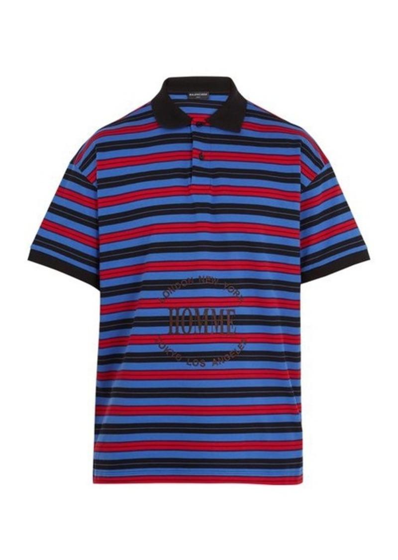 vente chaude en ligne 18fa7 b6bcb On Sale today! Balenciaga Balenciaga Striped Homme-embroidered cotton-piqué  polo shirt