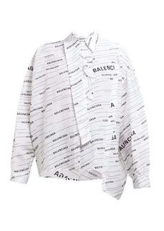 Balenciaga Striped logo-print silk blouse