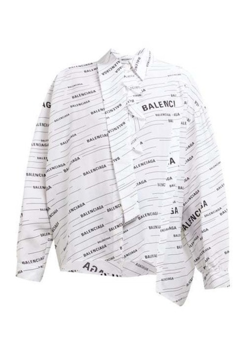 Balenciaga Striped logo-print silk blouse