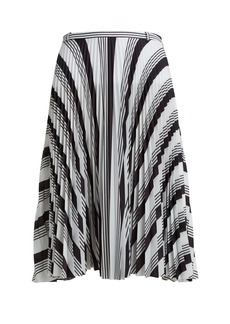Balenciaga Striped pleated crepe skirt