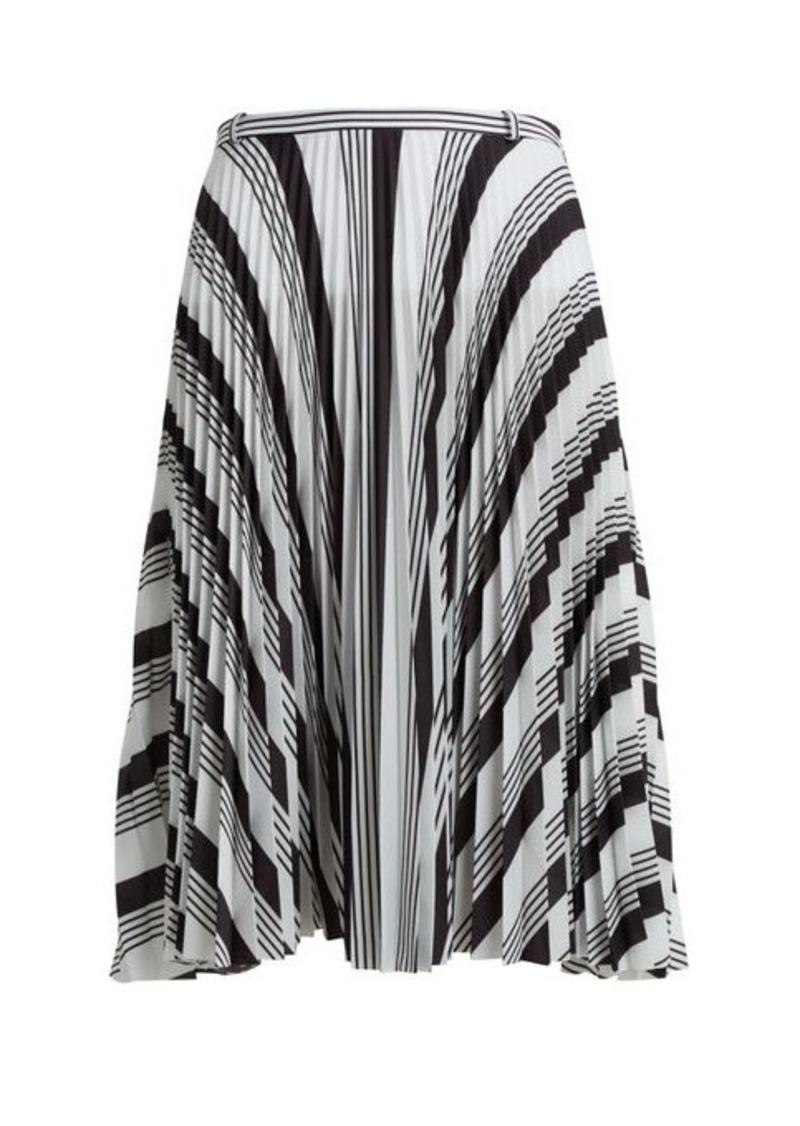 Balenciaga Striped pleated crepe skirt