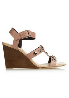 Balenciaga Stud-embellished leather wedge sandals