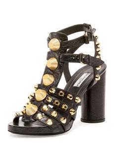 Balenciaga Studded Chunky-Heel Cage Sandal