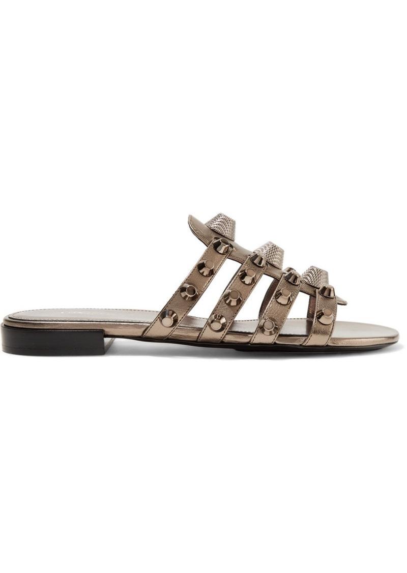 cfe1d5809aab Balenciaga Giant studded metallic textured-leather sandals