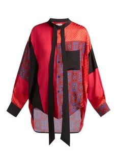 Balenciaga Swing patchwork print-panel silk blouse