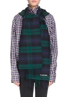 Balenciaga Tartan Hooded Wool Scarf
