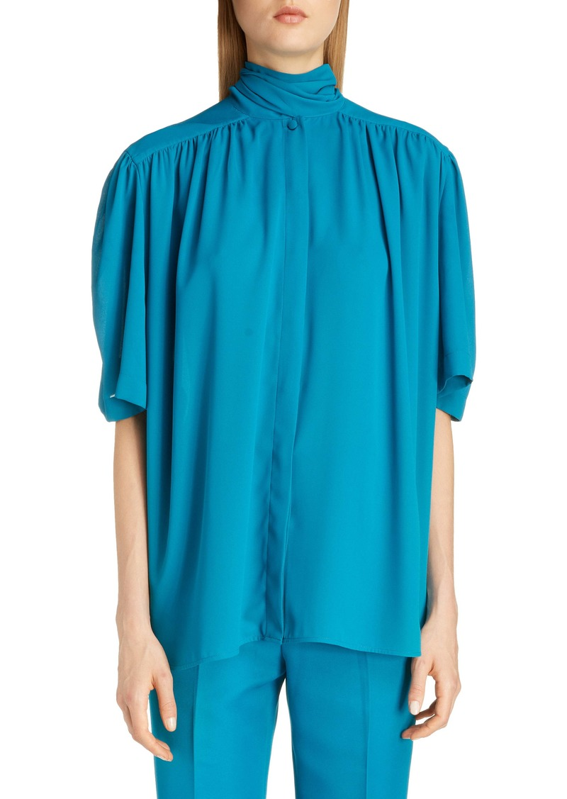Balenciaga Tech Crepe Scarf Neck Blouse