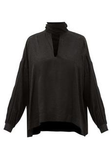 Balenciaga Tie-neck houndstooth-jacquard blouse