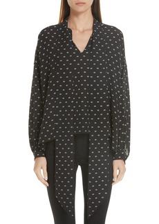 Balenciaga Tie Neck Logo Print Silk Blouse