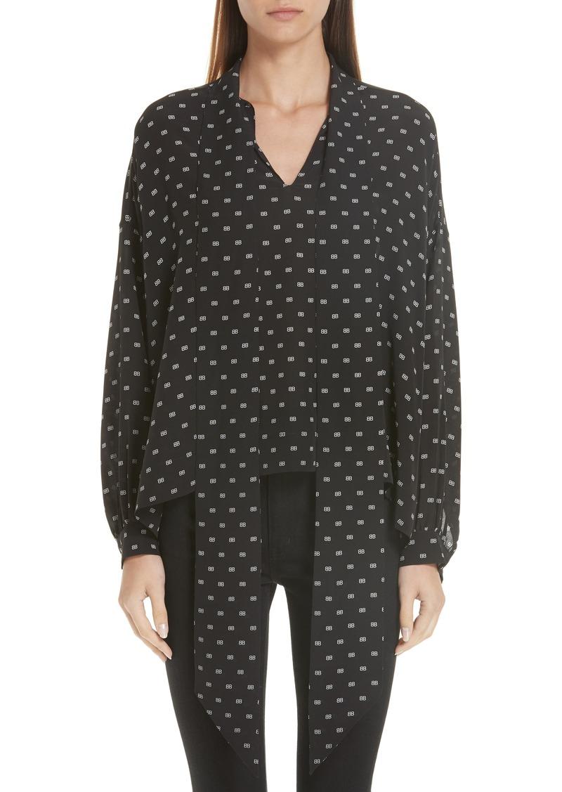 4a1475d70cfff6 Balenciaga Balenciaga Tie Neck Logo Print Silk Blouse