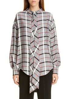 Balenciaga Tie Neck Plaid Swing Shirt