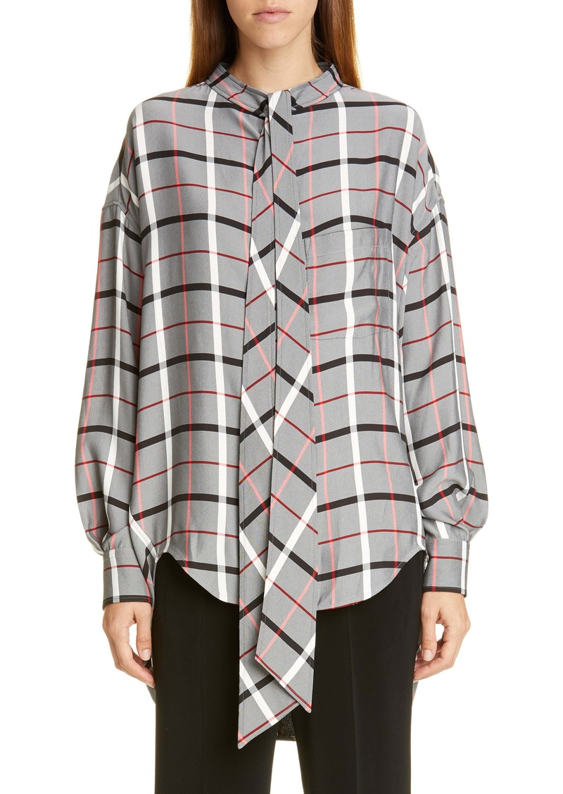 Balenciaga Tie Neck Plaid Swing Shirt