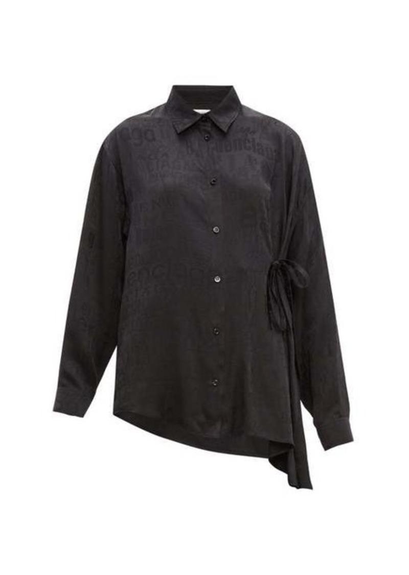 Balenciaga Tie-side logo-jacquard silk blouse