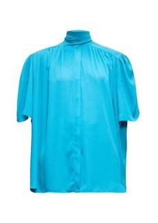 Balenciaga Tie-neck gathered crepe blouse
