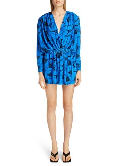 Balenciaga Tourist Print Long Sleeve Stretch Velvet Romper