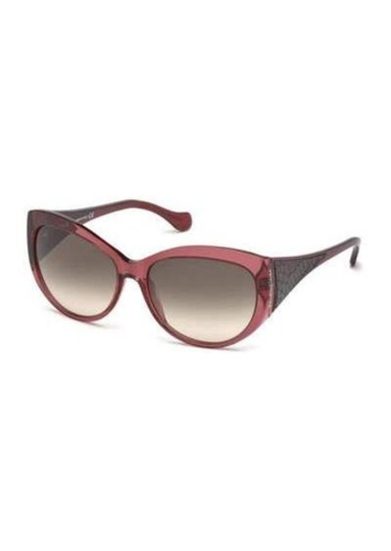 Balenciaga Transparent Cat-Eye Acetate Sunglasses w/ Leather Inset