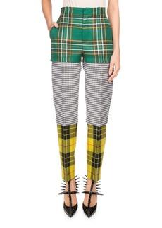 Balenciaga Tri-Panel Tartan Plaid Straight-Leg Wool Pants