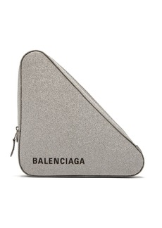 Balenciaga Triangle Pochette M glittered leather clutch