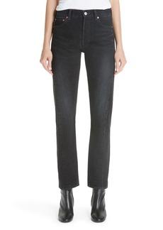 Balenciaga Twist Hem Straight Leg Jeans (Light Vintage Black)
