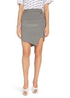 Balenciaga Twisted Houndstooth Asymmetrical Skirt