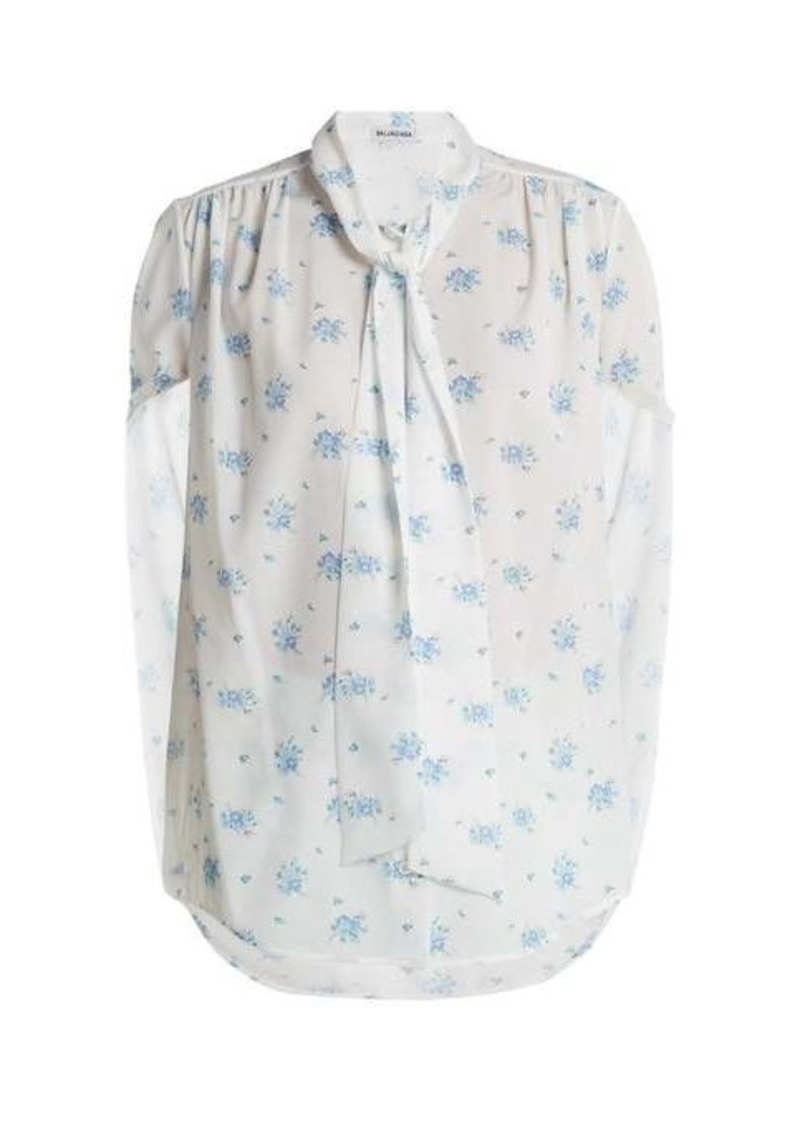 Balenciaga Twisted-sleeve floral-print crepe blouse