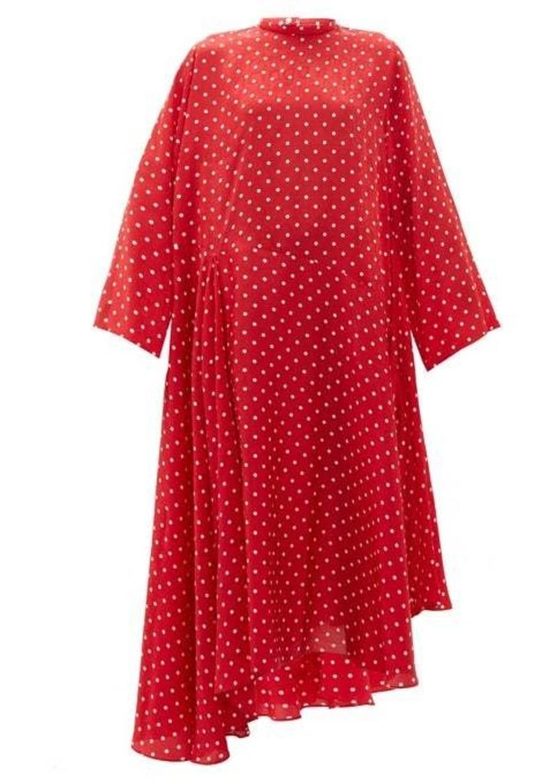 Balenciaga Typo polka-dot print silk-jacquard midi dress
