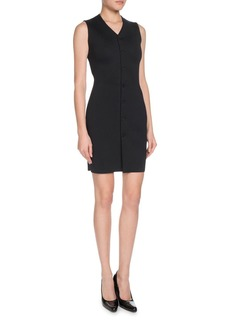 Balenciaga V-Neck Crepe Jersey Sleeveless Button-Front Mini Dress