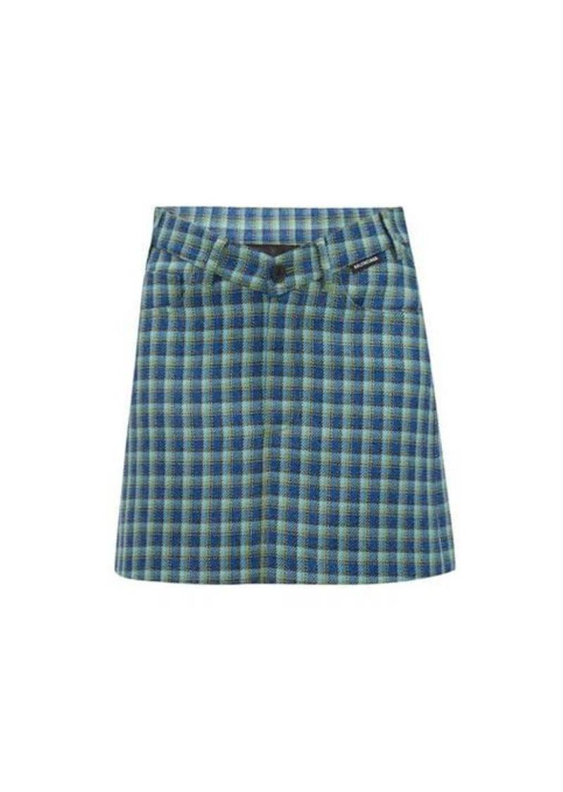 Balenciaga V-waist checked wool mini skirt