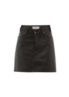 Balenciaga V-waist grained-leather mini skirt