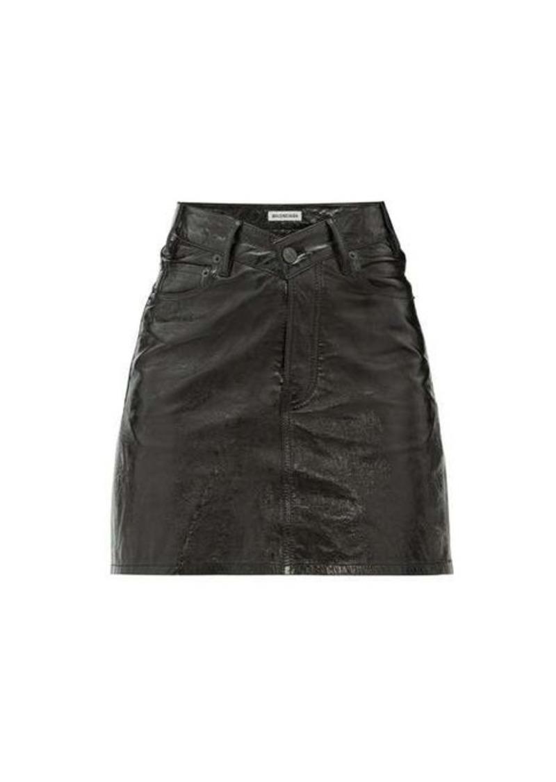Balenciaga V-waist patent-leather mini skirt