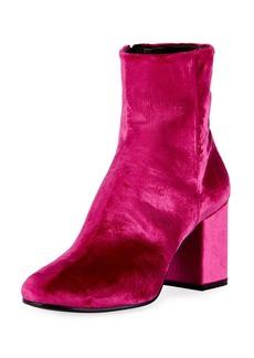 Balenciaga Velvet Block-Heel Boot