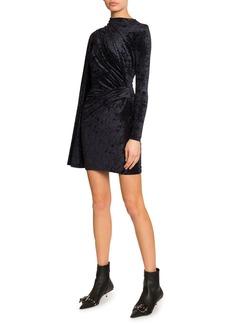 Balenciaga Velvet Jersey Crewneck Asymmetric Dress
