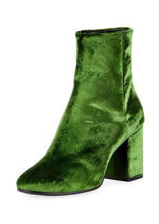 Balenciaga Velvet Zip-Up Block-Heel Bootie