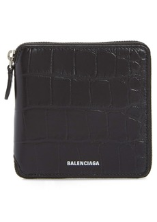 Balenciaga Ville Croc Embossed Leather Square Wallet