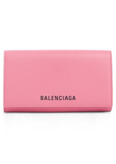 Balenciaga Ville Leather Phone Wallet on a Chain