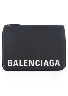Balenciaga Ville Logo Calfskin Leather Pouch