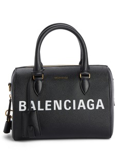 Balenciaga Ville Logo Leather Bowling Satchel