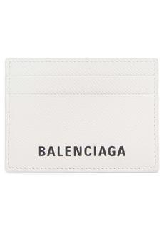Balenciaga Ville Logo Leather Card Case