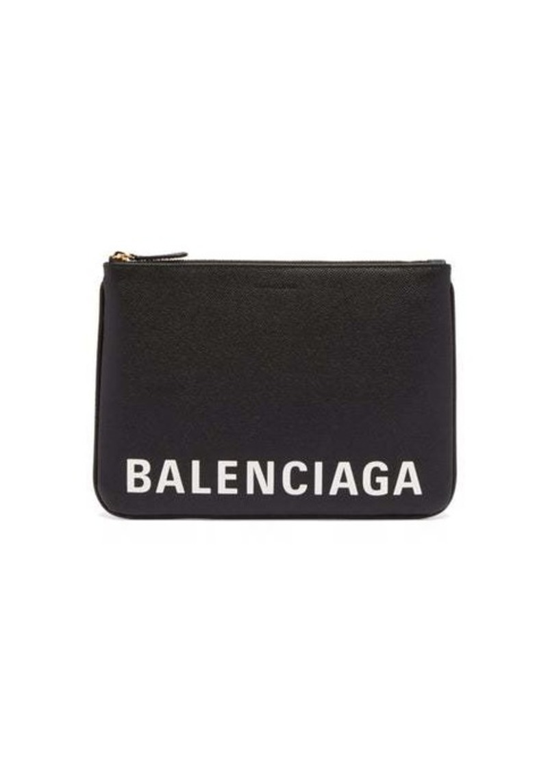 Balenciaga Ville M logo-print textured-leather pouch