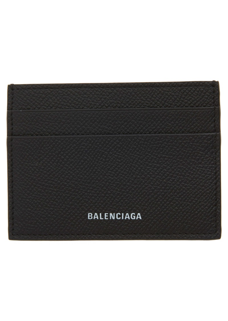 Balenciaga Ville Pebbled Leather Card Case