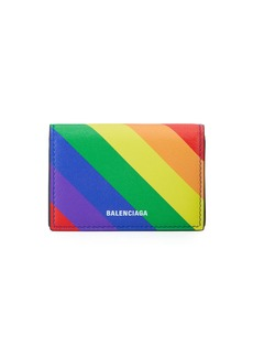 Balenciaga Ville Rainbow Leather Mini Wallet