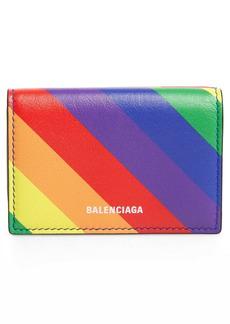 Balenciaga Ville Rainbow Stripe Leather Mini Trifold Wallet