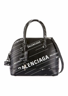 Balenciaga Ville Small AJ Logo-Print Leather Top-Handle Bag