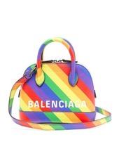 Balenciaga Ville XXXS rainbow-stripe leather cross-body bag