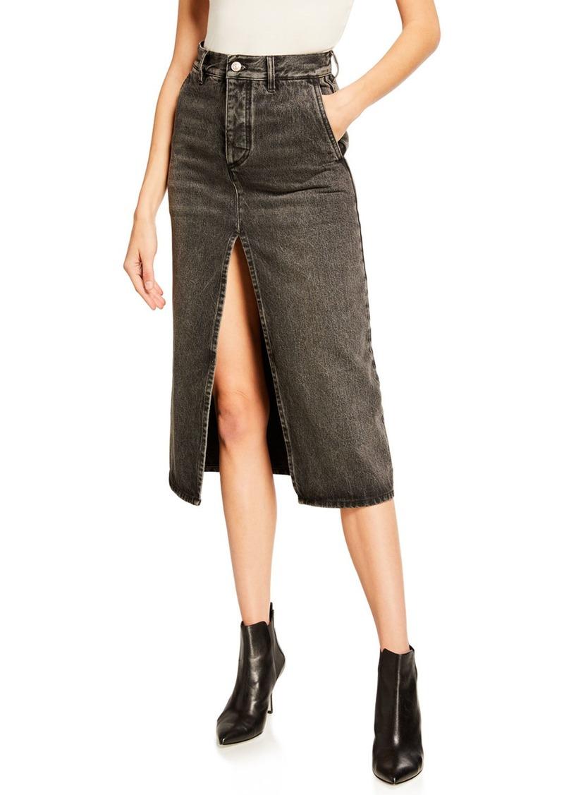 Balenciaga Vintage Front-Slit Denim Skirt