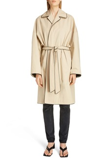 Balenciaga Water Repellent Piped Cotton Cocoon Trench Coat
