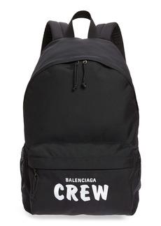 Balenciaga Weekend Crew Embroidered Canvas Backpack